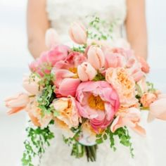 A romantic blush, peach, and mint wedding inspiration board that is perfect for a tropical wedding. (image via Elizabeth Anne Designs)
