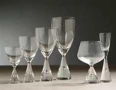 """Holmegaard """"Princess""""  ...  8 water goblets, 8 white wines, 7 cordials"""