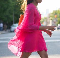 #neon pink dress, street style