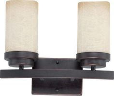 Nuvo Lighting 60-3842 Lucern ES - 2 Light Vanity with Saddle Stone Glass - 2 13w GU24 Lamps Included