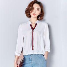 Women Casual Blouses Spring Blusas Chiffon Plus Size White Shirt Blouse Women Loose Tops Shirts Female OL Fashion