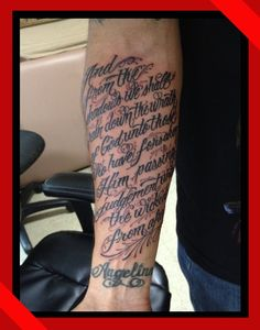 custom lettering on forearm tattoo done in waikiki honolulu hawaii lettering tattoo