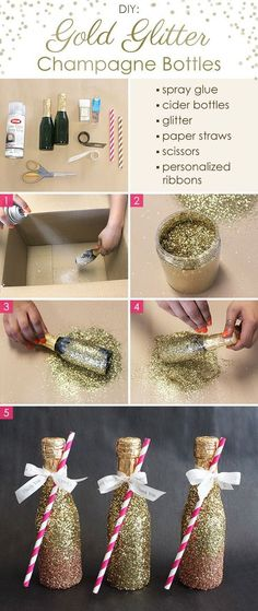 DIY Gold Glitter Champagne Bottles. These DIY gold glitter champagne bottles are super simple yet super decadent and gorgeous looking. They are a great addition to your wedding decoration, New Year's Eve or other occasion. http://blog.beau-coup.com/diy-gold-glitter-champagne-bottles Purple Mason Jars, Glitter Champagne Bottles, Gold Bottles, Champagne Wedding Favors, Champagne Party, Glitter Text, Gold Glitter, Super Simple, Trendy Wedding