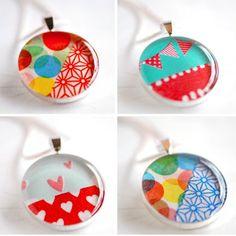 Washi Tape necklace pendants