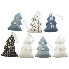 Mudcloth & Indigo Christmas Ornaments - S/7 (100 CAD) ❤ liked on Polyvore featuring home, home decor, holiday decorations, decor and indigo home decor