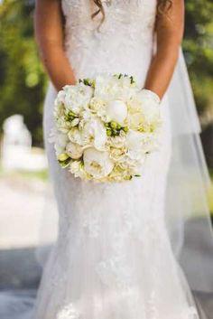 white peonies Romantic Bouquet by Simmi Floral Design