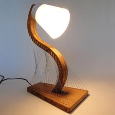 Contour Lamp x x Bamboo, Steel Cable, Rice Paper Furniture Making, Furniture Decor, Furniture Design, Desk Lamp, Table Lamp, Deco Luminaire, I Love Lamp, Wooden Lamp, Light Project