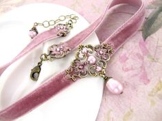 Neo Victorian Dusty Pink Velvet Choker with Swarovski Crystal Pearls and Antiqued Brass Floral Filigree