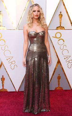 Jennifer Lawrence from Standout Style Moments From Oscars 2018  Armour-like Dior will never look wrong on the Red Sparrow actress.