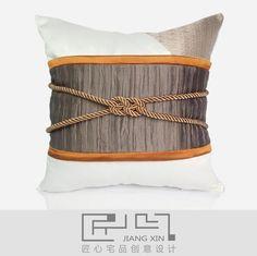 匠心宅品 新中式样板房/软装靠包抱枕 粗麻仿丝绑绳方枕(不含芯