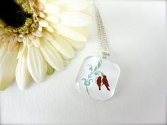 Simple yet elegant...Glass Pendant Necklace   $8.00