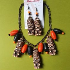 Tiki & lamp necklace & earrings set, , Earrings, Bow & Crossbones, Bow & Crossbones   - 1