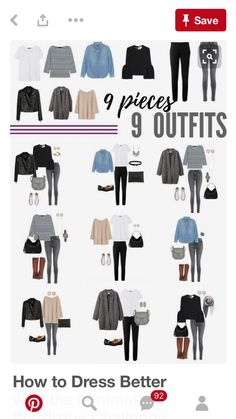 How to Dress Better with the Minimalist Wardrobe Challenge — The Capsule Project, 9 pieces x 9 outfits. Just a sampling of the hundreds of outfits you can make from the Minimalist Wardrobe Challenge capsule wardrobe! Capsule Outfits, Fashion Capsule, Mode Outfits, Fall Outfits, Fashion Outfits, Womens Fashion, Wardrobe Capsule, Black Outfits, Wardrobe Ideas