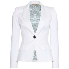 Emilio Pucci Cotton Blazer (4.645 BRL) ❤ liked on Polyvore featuring outerwear, jackets, blazers, tops, bianco seta, white summer blazer, cotton blazer, white fitted blazer, cotton jacket and blue blazer jacket