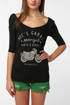 Truly Madly Deeply Motorcycle Scoop-Back Tee  #UrbanOutfitters