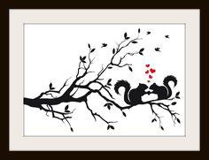 Squirrels In Love On A Tree Cross Stitch Pattern - Cross Stitch Patterns