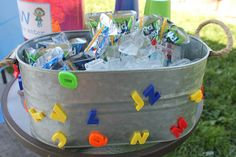 Simply Beautiful By Angela: DIY Super Why Birthday Party.  Alphabet magnets drink station