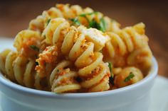 Roasted Red Pepper Sauce Fusilli with Feta and Fresh Basil - great for Meatless Monday or to take for lunch.