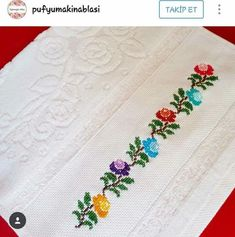 This Pin was discovered by Özc Embroidery Flowers Pattern, Embroidery Patterns Free, Ribbon Embroidery, Flower Patterns, Cross Stitch Embroidery, Cross Stitch Borders, Cross Stitch Flowers, Cross Stitch Designs, Cross Stitch Patterns