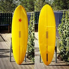 Custom Double Yoker with yellow resin tint and polished gloss finish. One of two boards for Simon.  #visionarysurfboards #visionary #custommade #customsurfboard #retro #surfboards #surfboard #resintint #madetoorder visionarysurfboards.co.uk