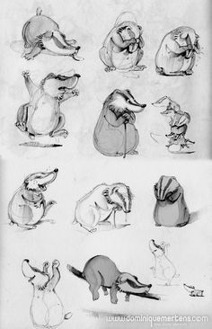 by Dominique Mertens illustrations Badger Illustration, Illustration Sketches, Graphic Illustration, Animal Sketches, Animal Drawings, Animation, Cute Creatures, Character Design References, Animal Design