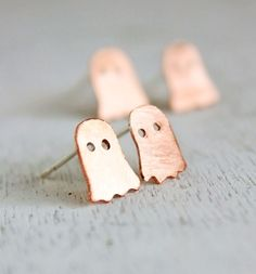 Ghost earrings, Halloween earrings, costume jewelry orange copper sterling silver posts, minimalist