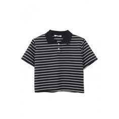 Stripe Lapel Short Sleeve Crop T-Shirt ($9.43) ❤ liked on Polyvore featuring tops, t-shirts, shirts, striped tee, tee-shirt, striped t shirt, striped crop top and striped shirt