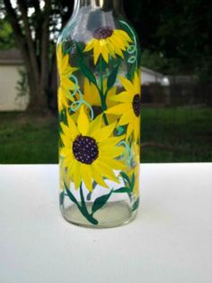 Dish Soap Dispenser  Recycled Clear Beer Bottle Painted
