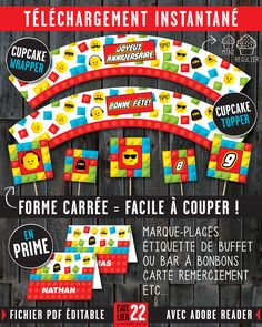 """Cupcake wrapper & topper """"blocs de construction"""" (inspiration lego). Marque-Places. Étiquette pour buffet ou bar à bonbons. Carte remerciement. LAtelier22.etsy.com"""