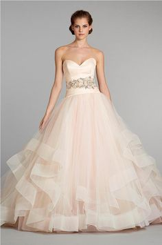blush pink dress by Lazaro