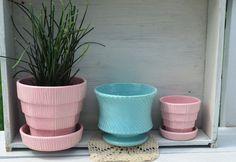 McCoy Planter Pottery Flower Pots Vintage Pink by BornAgainBobbles, $39.00