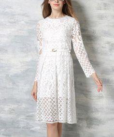 Coeur de Vague White Lace Long-Sleeve Empire-Waist Dress | zulily