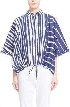 Max Mara 'Uvetta' Poplin Stripe Top Summer Trends, Max Mara, Casual Tops, Poplin, Work Wear, Stripes, Stripe Top, Sleeves, Shiro