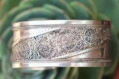 Fine Silver Filigree Cuff Bracelet - Yourgreatfinds, Vintage Jewelry - 1
