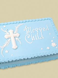 Blessed Child Quarter Sheet Cake with his name and date Baptism Sheet Cake, Christening Cake Boy, Baby Boy Baptism, Baptism Cakes, Baptism Party, Baby Dedication Cake, Comunion Cakes, Sheet Cake Designs, Foto Pastel