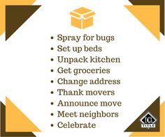 Checklist for after you move in to your new home. Title Insurance, Insurance Agency, Happy Moving Day