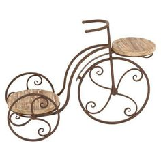 Eclectic 19 x 25 Inch Vintage Bicycle Plant Stand by Studio 350 (Garden Two Shelf Tricycle Planter), Brown(Iron), Gardening Plant Stand With Wheels, Wood Plant Stand, Plant Stands, Wooden Bicycle, Bicycle Decor, Tricycle, Metal Wood, Wheelbarrow Planter, Garden Decor Items
