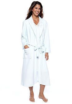 Miss Elaine Brushed Back Terry Long Wrap Robe & Honeycomb Brushed Knit Long Sleeve Short Gown #belk