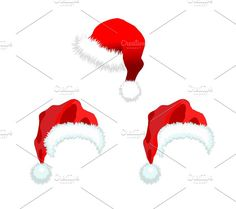 Three red Santa Claus Hat. Graphics Three red Santa Claus Hat. Vector illustration isolated on white background. by Oleksii