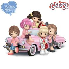 "Precious Moments ""Grease Is Still The Word"" Figurines Disney Precious Moments, Precious Moments Figurines, Precious Moments Wedding, Pink Ladies Grease, Pink Dye, Pink Ladies Jacket, Hits Movie, Textiles, Brighten Your Day"