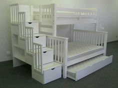 Bedz King Stairway Bunk Beds Twin over Full with 4 Drawers in the Steps and 2 Under Bed Drawers, White Bunk Beds With Drawers, Under Bed Drawers, Bunk Beds With Storage, Bunk Bed With Trundle, Full Bunk Beds, Bunk Beds With Stairs, Kids Bunk Beds, Bed Storage, Bed Stairs
