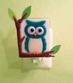 Little Hoot Night Light: Fused Glass Owl Night, home decor, Owl Decorations, Owl Light, Adorable Room Decor