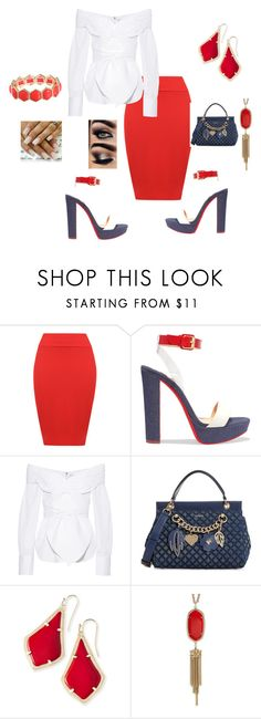 """""""Veterans Day outfit"""" by bebejohnson ❤ liked on Polyvore featuring WearAll, Christian Louboutin, Johanna Ortiz, GUESS, Kendra Scott and Liz Claiborne"""