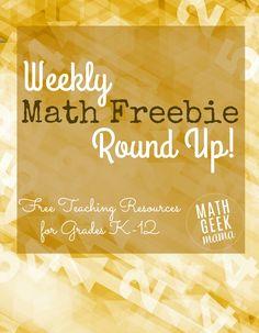 Weekly Math Freebie Round Up Free Teaching Resources, Teaching Math, Teaching Ideas, Science Resources, Creative Teaching, Teaching Materials, Kindergarten Math, Teacher Resources, Math Games