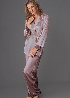 Indulgence Silk Wrap Pajama - Regular and Petite Sizes Petite Sleepwear, Satin Pajamas, Pyjamas, Build A Wardrobe, Silk Wrap, Drawstring Pants, Pajamas Women, Petite Size, Lace Trim