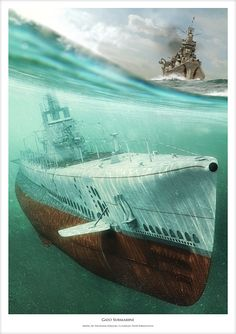 Gato submarine illustration done for book cover in cooperation with Waldemar Góralski (waldemar.goralski@wp.pl) author of this fantastic Gato submarine 3D model. Environment, Scene, Camera, Postproduction by me.