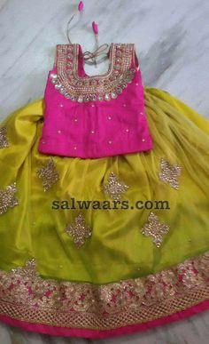 Neon Green Floral Lehenga - Indian Dresses