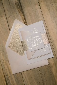 I can't think of a more perfect invitation for a rose gold wedding! KATHRYN Suite Glitter Package, comes in rose gold foil stamping, with rose gold glitter, and blush envelopes! I love this pretty script font!