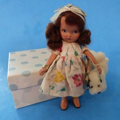 """RARE NANCY ANN Storybook doll """"I have a LIttle Pet"""" pudgy tummy with box and original dog!"""