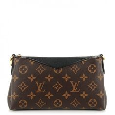 This is an authentic LOUIS VUITTON Monogram Pallas Clutch in Noir Black. This chic shoulder bag is crafted of Louis Vuitton monogram on toile canvas with a trimof black leather top.